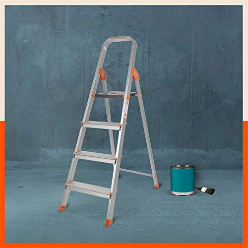 Bathla Advance Carbon - 4 Step Foldable Aluminium Ladder with Scratch Resistant Smart Platform and Sure-Hinge Technology (Orange)