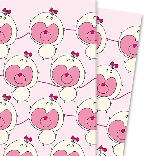 Baby cadeaupapier met kleine fopspeen baby, roze (4 vellen, 32 x 48 cm) decoratiepapier, papier om in te pakken, voor leuke cadeauverpakking en verrassingen