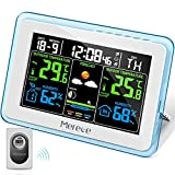 Merece Weather Station - Wireless Indoor Outdoor Thermometer Hygrometer, Color LCD Display Home Forecast Weather Stations with Calendar, Digital Temperature and Humidity Monitor with External Sensor