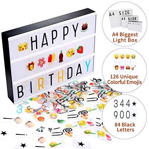 Jeteven Boîte Lumineuse avec 210 Lettres Coloris Cinéma Boîte Lumineuse A4 Enseigne Lumineuse LED avec 210 Lettres et Symboles Décoration Chambre Mariage Fête La Saint-Valentin (A4 Boîte Lumineuse)