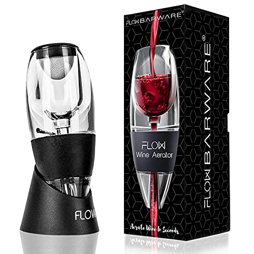 Flow Wine Aerator with Stand, Sediment Filter & Storage Bag. Hand Held Red Wine Enhancer Pourer Gift Set for Wine Lovers by FLOW Barware