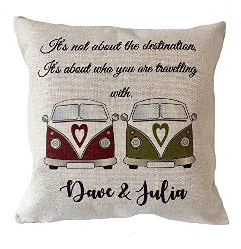 Yohoba Personalised Camper Van Cushion Cover Gift Wedding Leaving Gift Canvas Cotton Linen Home Decorative Throw Pillowcases Covers Sofa Couch Square 18' X 18'