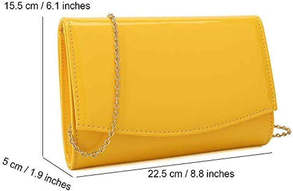Geldb/örse Damen-Clutch elegant Abendtasche klassisch modische Geldb/örsen schickes Kleid Handtasche in einheitlicher Farbe Lackleder