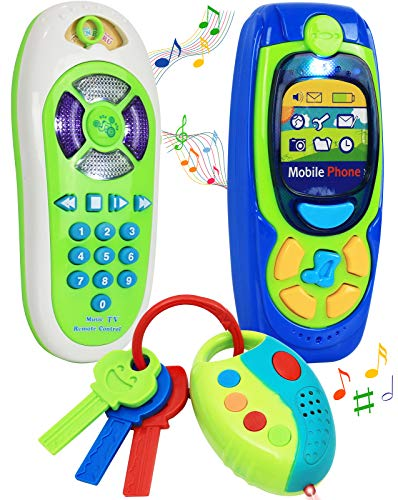Click N' Play Pretend Play Cell Phone TV Remote & Car Key Accessory Playset for Kids with Lights Music & Sounds (Set of 3)