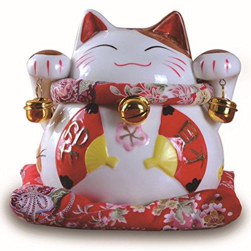 Parma77 White Ceramic Maneki Neko Money Lucky Cat