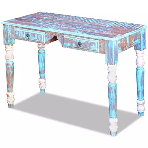 Festnight- Schreibtisch Arbeitstisch | Vintage-Stil Bürotisch aus Recyceltes Massivholz | Konsolentisch mit 2 Schubladen 110 x 50 x 76 cm