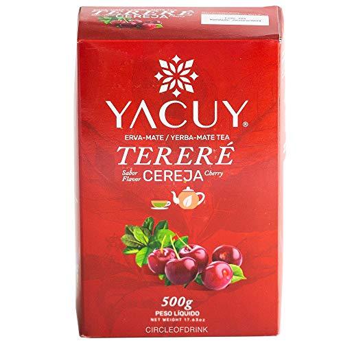 Circle of Drink - Yacuy Cherry Yerba Mate Tea - Gourmet Erva Mate Chimarrao - Super Fresh Vacuum Sealed - Soft Floral Flavors - 500g - 1.1 lbs (1 PACK)