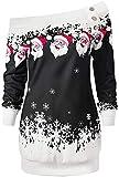 Women Christmas Tops Skew Neck Long Sleeve Loose Pullover Sweater Plus Size Santa Snowflake Print Blouse Shirt