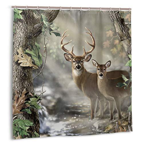 N/W Duschvorhang Reh & Dreamy Misty Forest Wasserdicht mit Haken Schön Magic Light Polyester Stoff Badvorhang 183 x 183 cm Badezimmer Vorhang