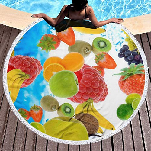 Bethwerdr Many Fruits Round Beach Towel for Women&Girl,Hippie Towel Extra Large Sand Proof Blanket Yoga Mat with Tassels 59'