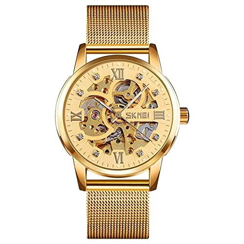 HKX Ver Reloj mecánico con Correa de Acero, Reloj mecánico automático de Acero Inoxidable para Hombres, Reloj para Hombres, cómoda Correa de Acero, (Hombre y Mujer), Dorado