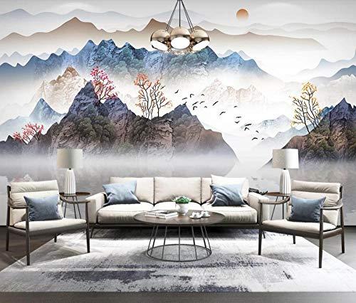 Fotomural 3D Tinta Paisaje Abstracto Árbol Zen Frontera Pájaro Volador Tv Fondo Papel Pintado Pintura De Pared