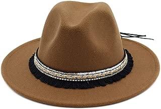 Unisex Men Women Wool Felt Trilby Jazz Fedora Hats Ethnic Tassel Ribbon Decor Man Female Lovers Roll Brim Cowboy Hat` TuanTuan (Color : Coffee, Size : 56-58)