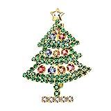 FOCALOOK Spilla Natalizia in Oro Placcato in Oro 18 carati Cristallo Colorati Spilla per Abito Accessorio Regalo da Ragazza Donna