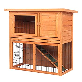 36  Outdoor Wooden Chicken Coop,Multi-Level Hen House Waterproof 2 Tiers Pet Rabbit Hutch Chiken Coop Cage Hen House Poultry Cage with Ramps Run Nesting Box Wire Fence …