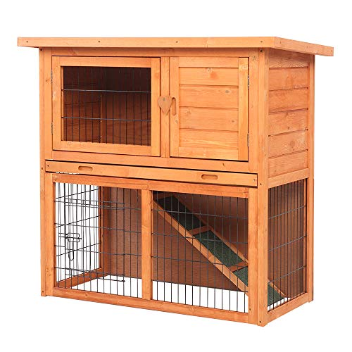 36''Outdoor Wooden Chicken Coop,Multi-Level Hen House, Waterproof 2 Tiers Pet Rabbit Hutch Chiken Coop Cage Hen House Poultry Cage with Ramps, Run, Nesting Box, Wire Fence …