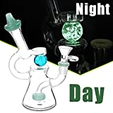 Tubo de vidrio para fumar agua, que brilla en la oscuridad, bola cortada Donut Perc Dab Rig Mini bongs de agua de 14,5 mm