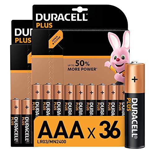 Duracell - Plus AAA, Pilas Alcalinas, paquete de 36, 1.5 Voltios LR03 MN2400, Amazon exclusive