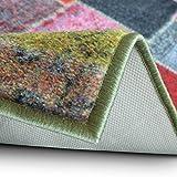 Teppichläufer Monsano | Patchwork Muster im Vintage Look | viele Größen | rutschfester Teppich Läufer für Flur, Küche, Schlafzimmer | Niederflor Flurläufer | bunt Breite 80 cm x Länge 350 cm - 4