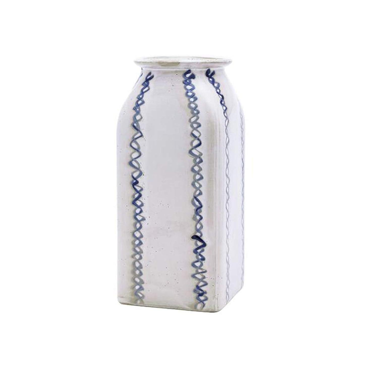 良性世辞アレイLHSY 花瓶セラミック花瓶シンプルなスクエアボトルホームデコレーション現代のデコレーションフラワー挿入 (Color : White)