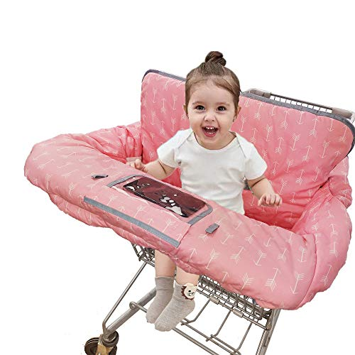 Shopping Cart Covers for Baby Girl, Cotton High Chair Cover, Machine Washable for Infant, Toddler, Large (Pink)