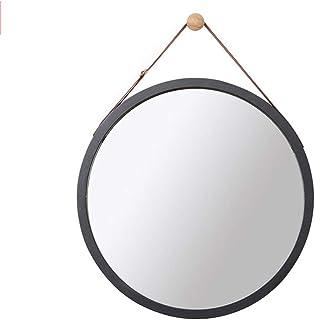 MXD Mirror Bathroom Mirror Wall Hanging Mirror Round Mirror Decorative Hanging Mirror Black (Size : S)