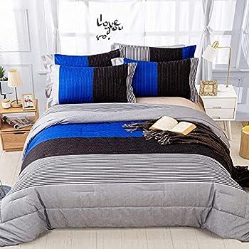 "Stripe Comforter Set Full Reversible Grey Blue Patchwork Bedding Comforter Set for Full Bed 3 Pieces  1 Comforter+2 Pillowcase  Soft Microfiber Filling Duvet Set 78""×90"""