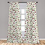 Ambesonne Mushroom Curtains, Watercolor Pattern Green Leaves Forest Elements Botanical Woodland Theme, Window Treatments 2 Panel Set for Living Room Bedroom Decor, 56' x 84', Green Ruby