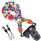 Wolven Soft Scarf Camera Neck Shoulder Strap Belt Compatible with All DSLR/SLR/Digital Camera (DC) / Instant Camera Etc, Colorful Floral