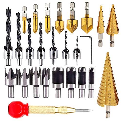 26 herramientas de perforación de chaflán para carpintería, incluyendo 6 brocas avellanadas, 7 brocas avellanadas de tres puntas con llave en L, 8 cortadores de madera y 3 brocas de paso
