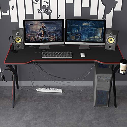 DlandHome 160 CM Escritorio para computadora de Juegos, Mesa de Juego con Alfombrilla de ratón grande & Estante de mango de juego/ Cargador USB,Negro