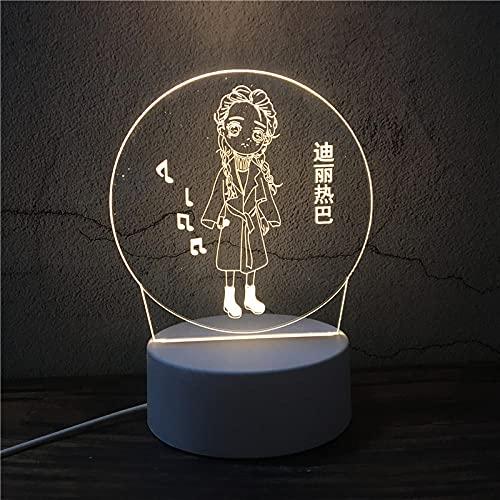 Luz Nocturna ,Lámpara De Ilusión Óptica Led 3D Con Placas Acrílicas De Patrones,Lámpara De Visualización Creativa Usb Regalo Para Niños,Chica Musica