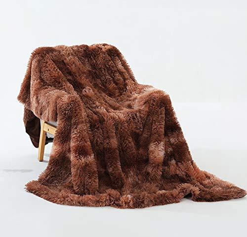 Manta De Lana: Manta De Cama Sólida Cálida Y Esponjosa Súper Suave para Sofá Manta De Microfibra Tamaño De Viaje 160X130cm Marrón
