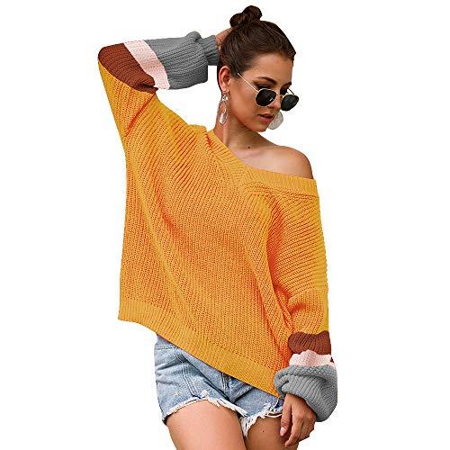 Symina Suéter para Mujer Suéter 3 Colores V Líder Color A Juego Suéter De Punto Blusa Blusa De Punto Suelto Sudaderas para Mujeres Casual Tallas Grandes (L,Yellow)
