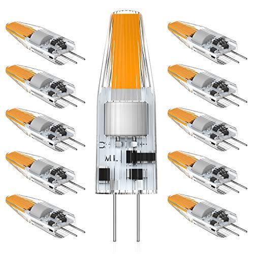 MLlichten G4 LED Lampadine Bianco Caldo 2700K, 2W Equivalente Alogeno 10W 20W, Non Dimmerabile, Lampadine LED G4 AC/DC 12V, Nessun Sfarfallio G4 LED Lampada, Confezione da 10