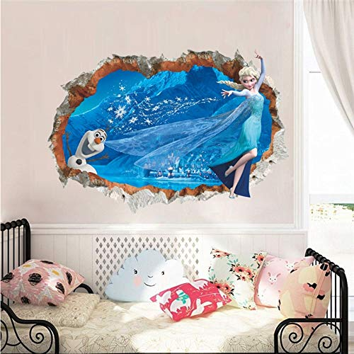 Cartoon Olaf & Elsa Princess Broken Hole 3d Wall Stickers For Home Decoration Frozen Anime Movie Mural Art Kids Room Wall Decals