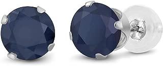 Gem Stone King 10K White Gold Blue Sapphire 4-Prong Stud Earrings (2.12 Cttw, Gemstone Birthstone 6MM Round)