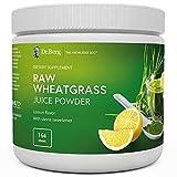 Dr. Berg's Raw Wheatgrass Juice Powder, Lemon Flavor w/ Stevia Sweetener - Green...