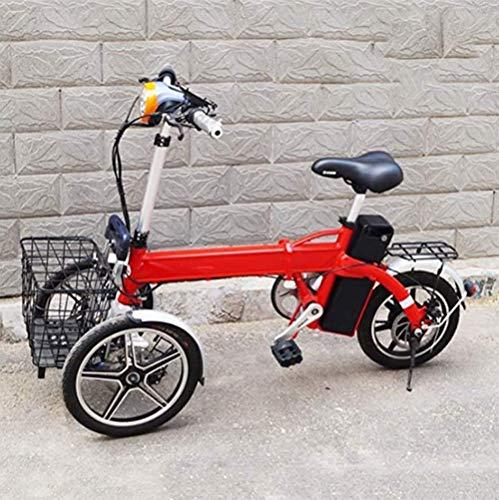 GYXZZ Plegable para Adultos Eléctrico Triciclo, Invertido De Tres Ruedas De Múltiples Funciones del Vehículo Eléctrico con Un Solo Botón Cruise Portátil Cómodo Antideslizante Scooter Eléctrico,Rojo