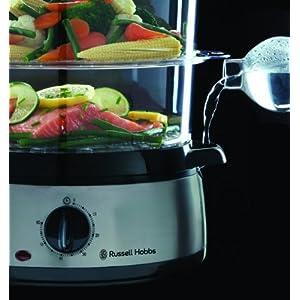 Russell Hobbs Dampfgarer 9,0l (60 Minuten Timer + Abschaltautomatik), 3 spülmaschinengeeignete Dampfgarbehälter + Reisschale + 6 Eierhalter, BPA-frei, Dampfkocher Cook@Home 19270-56