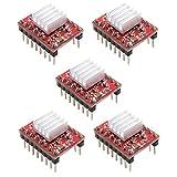 Nicetruc A4988 Motor de Pasos del módulo Red Diver StepStick Compatible con disipador de Calor para el Controlador de la Impresora 3D Rampas Accesorios de Control 1.4 5PCS industriales