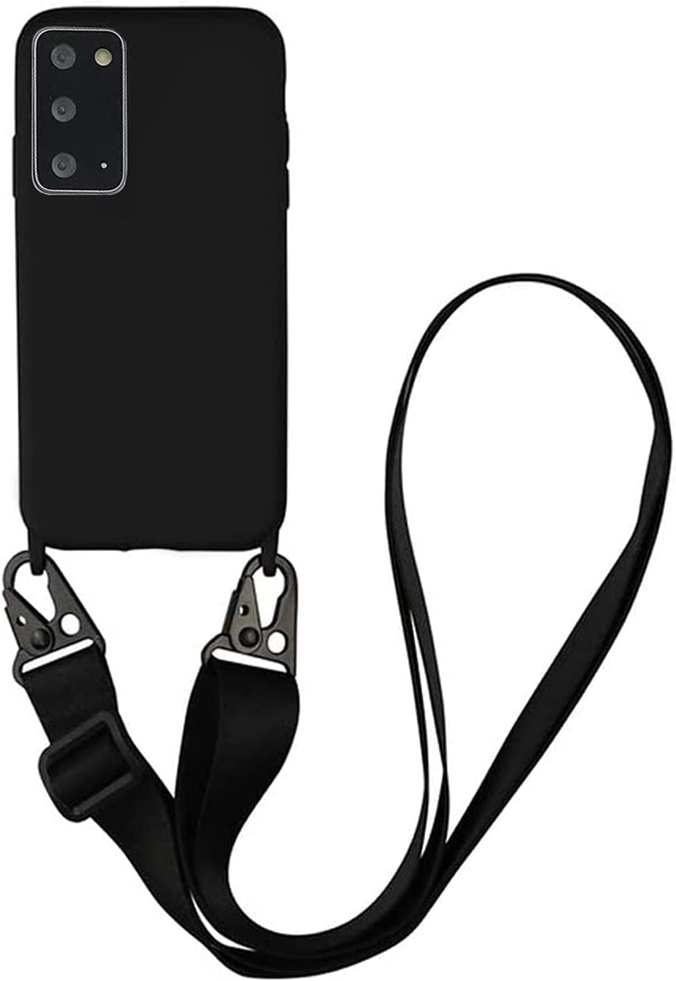 TY-Box Portable Necklace Silicone Phone Cover Compatible with Samsung Galaxy S21, Soft Cell Phone Protective Cover+Adjust Crossbody Lanyard Case for Samsung Galaxy S21 2021 (Black, S21)