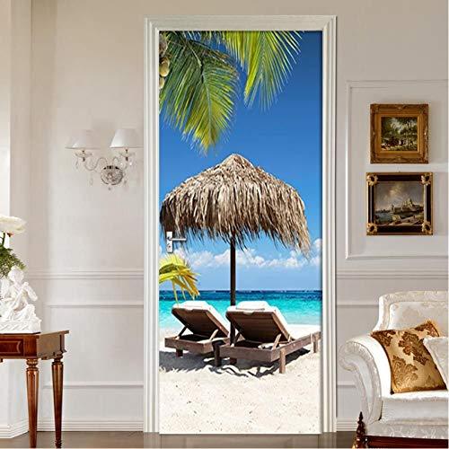 JHYT Playa Luz Del Sol Árbol De Coco Paisaje 3D Murales Pvc Autoadhesivo Impermeable Etiqueta De La Puerta Decoración Del Hogar Pegatinas De Pared Calcomanías Cartel