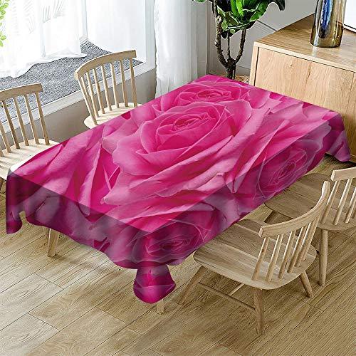 Mantel Mesa Rectangular Impresión 3D Rosa Rosa Floreciente Mantel De Home Hotel Manteles Mesa De Jardín Al Aire Libre 140X180cm