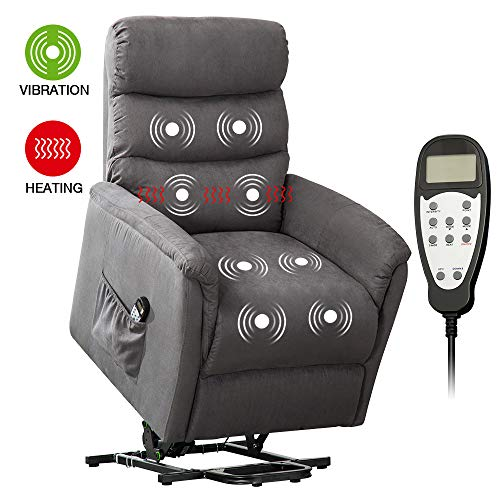 Electric Lift Chairs for Elderly, Bonzy Home Massage Recliner Chair with Heat Vibration, Power Recliner Chair Sofa with Remote Controlled Widen Back, Side Pocket, for Living Room Bedroom (Smokegray)