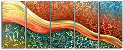 Omax Decor MC5012 24 x 60 in Satin Riverlet Through Os Contemporary Handmade Metal Wall Art product image