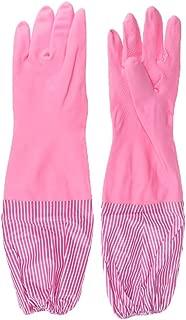 IPOTCH Rubber Latex Household Dishwashing Gloves Non-Slip Waterproof Velvet Gloves