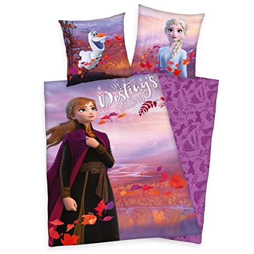 Arle-Living Frozen - Die Eiskönigin 2 Bettwäsche mit Wende Motiv 135x200 cm + 80x80 cm (Anna, Renforcé)