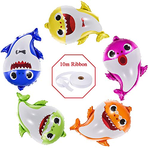 Baby Shark Balloons 25 Inch, 5 Pcs sharks Family Balloons For Birthday Decorations, Baby Cute Shark Theme For 1st Baby Shower Party Supplies, Helium Balloon Decor First Boy And Girl Party Set