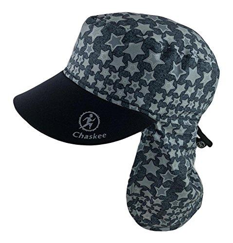 Chaskee Junior Sahara Stars Bonnet pour enfant avec protège-nuque, visière en néoprène et protection solaire 80, noir